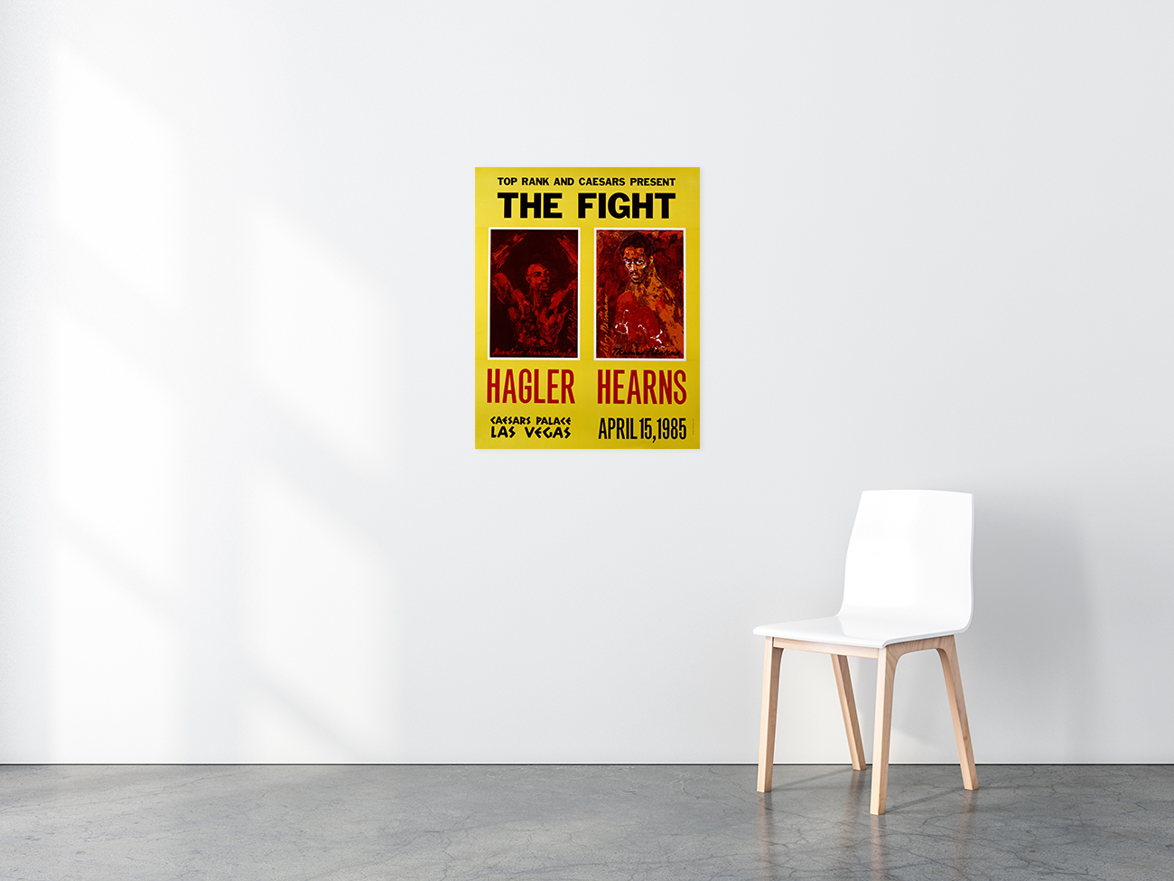 Hagler vs. Hearns 1985 Boxing poster in situ