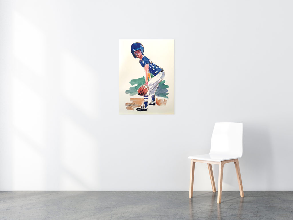The Little Fielder Baseball poster in situ