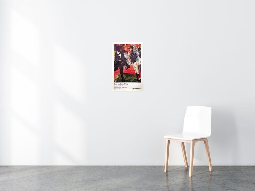 Leo and the Ump Baseball poster in situ