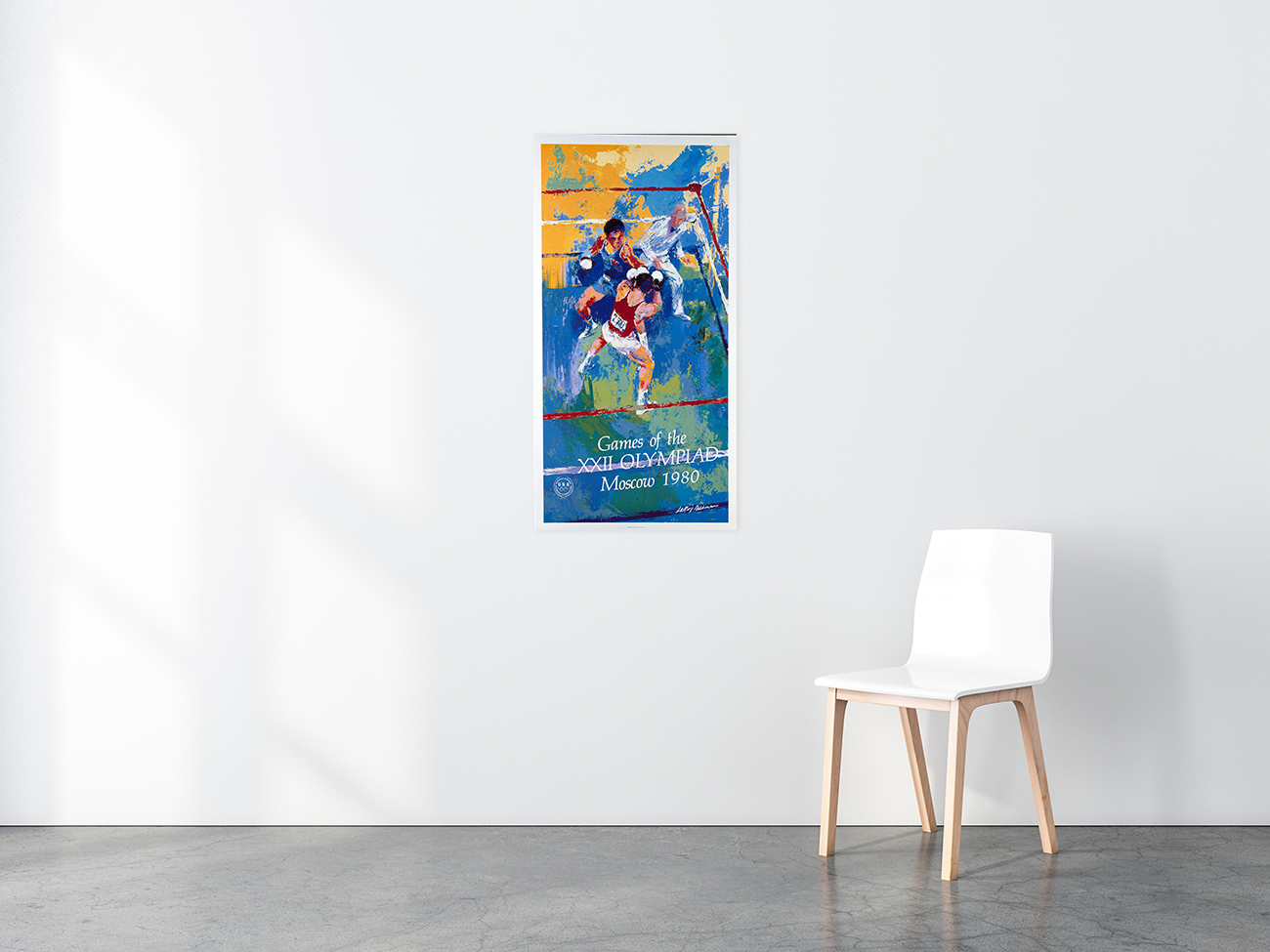Games of the XXII Olympiad Moscow Olympic Boxing poster in situ