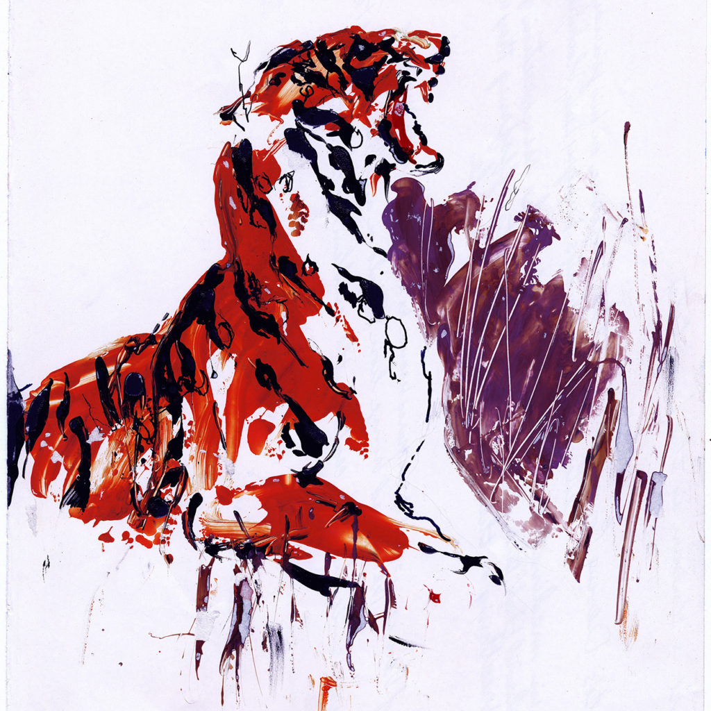 Mixed Media work on paper of Tiger