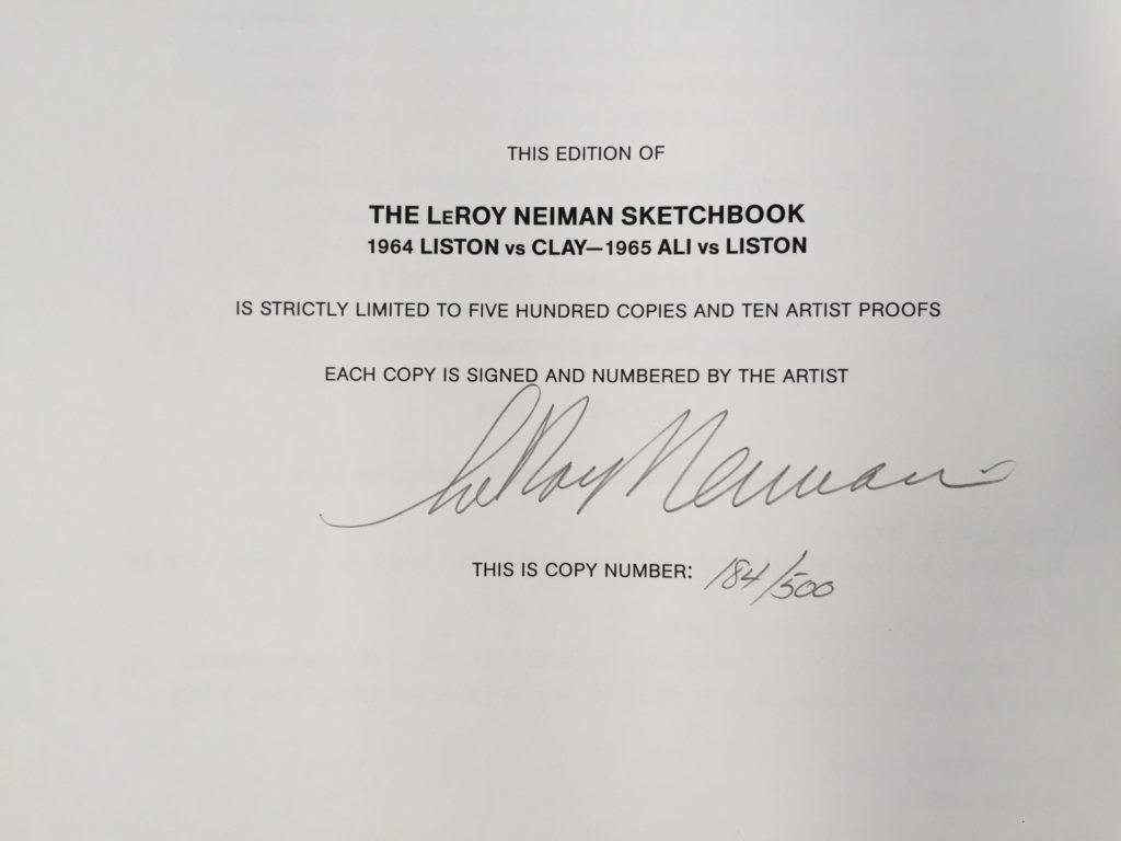 Copy 184/500 of The LeRoy Neiman Sketchbook: 1964 Liston vs. Clay, 1965 Ali vs. Liston