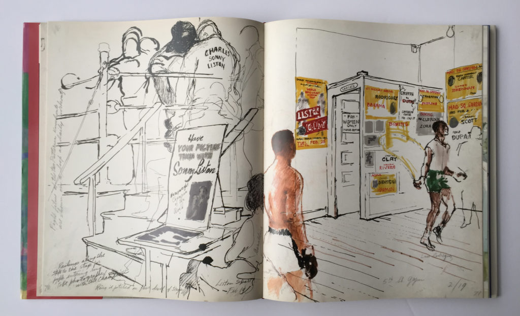 Artwork from, The LeRoy Neiman Sketchbook: 1964 Liston vs. Clay, 1965 Ali vs. Liston