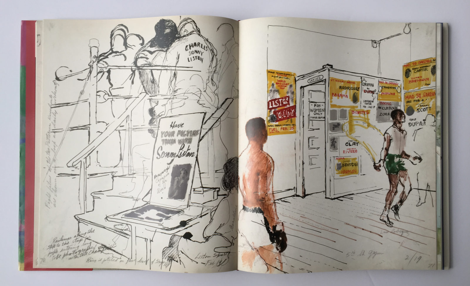 Artwork from, The LeRoy Neiman Sketchbook: 1964 Liston vs. Clay, 1965 Ali vs. Liston