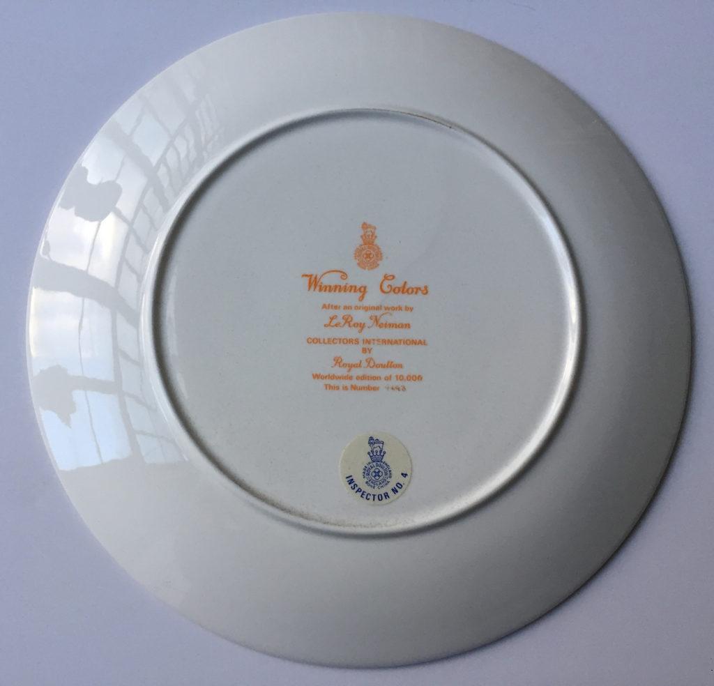 Winning colors plate (Back)
